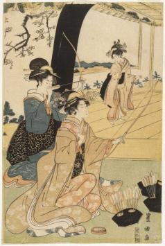 Brooklyn_Museum_-_Young_Samurai_and_Female_Attendants_Practicing_Archery_Half_of_a_Diptych_-_Utagawa_Toyokuni_I